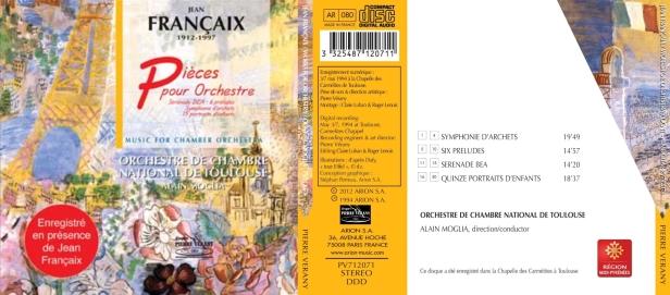 Jean Françaix - Pièces pour Orchestre, Fantaisie pour violoncelle et Scuola di celli par l'Orchestre de Bretagne dirigé par Jean Françaix et Henri Demarquette au violoncelle