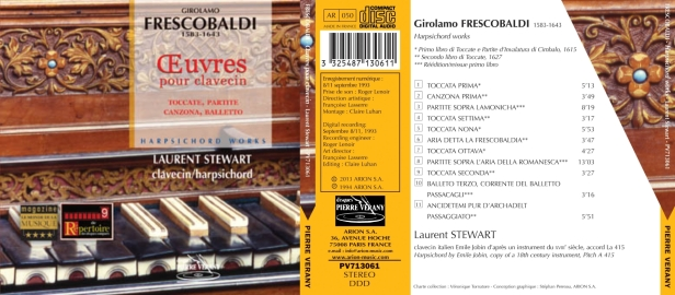 Girolamo Frescobaldi - Œuvres pour clavecin par Laurent Stewart