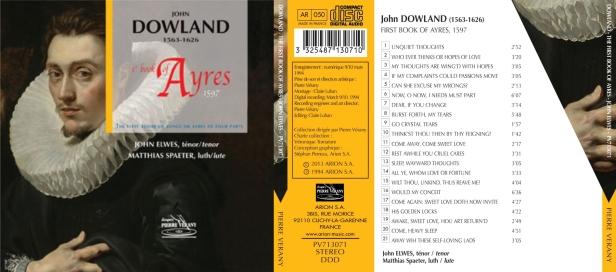 John Dowland - Ayres 1er livre par John Elwes comme ténor et Matthias Spaeter au luth
