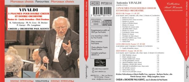Antonio Vivaldi - 3 Psaumes à double chœur et double orchestre dirigé par Paul Kuentz - Orchestre & Choeur Paul Kuentz - K. Vahrenkamp - M.N. Cros - B. Decker - P. Garayt - Ph. Langshaw