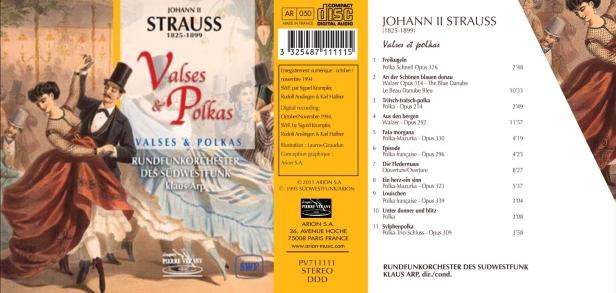 Les plus belles Valses & Polkas écrites par Johann Strauss et interprétées par la Rundfunkorchester des Südwestfunk sous la direction de Klaus Arp