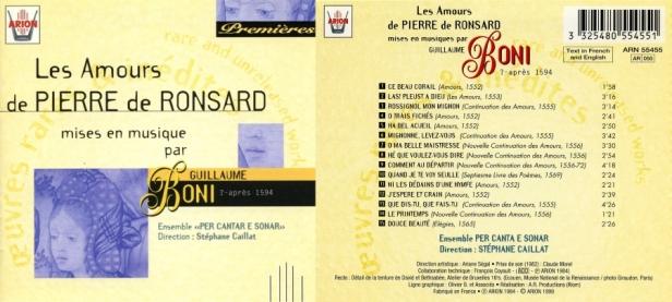 Guillaume Boni - Les Amours de Pierre de Ronsard par l'Ensemble Per Cantar e Sonar dirigé par Stéphane Caillat