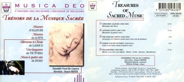 Trésors de la Musique Sacrée par l'Ensemble vocal Da Camera dirigé par Meier Daniel avec Elisabeth Hardy et Hélène Delage