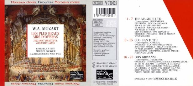 Wolfgang Amadeus Mozart - Les plus beaux airs d'opéra par l'Ensemble à Vent Maurice Bourgue