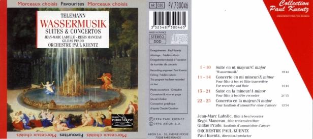"""Georg Philipp Télémann """"Wassermusik - Suites & Concertos"""" par l'Orchestre Paul Kuentz - Jean-Marc Labylle, Régis Manceau et Gildas Prado"""