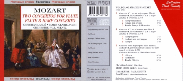 """Wolfgang Amadeus Mozart """"Deux concertos pour flûte & harpe"""" par l'Orchestre Paul Kuentz, Christian Lardé à la flûte et Claire-Marie Jamet à la harpe"""