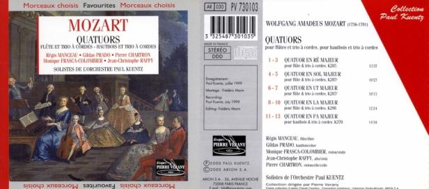 """Wolfgang Amadeus Mozart """"Quatuors pour flûte & pour hautbois & Trio à cordes"""" avec Régis Manceau à la flûte, Gildas Prado au hautbois, Monique Frasca-Colombier au violon, Jean-Christophe Rafy à l'alto et Pierre Chartron au violoncelle"""