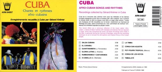 """Cuba """"Chants et danses Afro-Cubains"""" enregistrements recueillis par Gérard Krémer"""