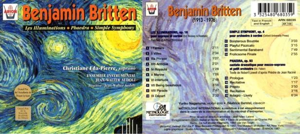 "Benjamin Britten ""Les Illuminations - Phaedra - Simple Symphony""par Christine Eda-Pierre, soprano et Ensemble Instrumental Jean-Walter Audoli"