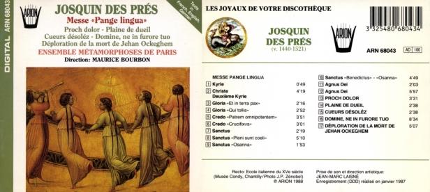 ARN68043-Josquin des Pré-Maurice Bourbon