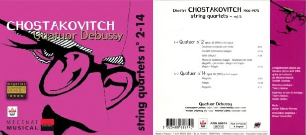 """Dimitri Chostakovitch """"Quatuors à cordes N°2 & 14 - Vol.5"""" avec le Quatuor Debussy"""