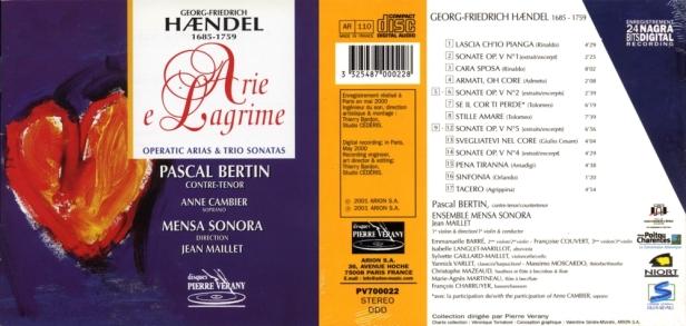 "Georg-Friedrich Haëndel ""Arie e Lagrime"" avec Pascal Bertin, Anne Cambier et l'Ensemble Mensa Sonora"