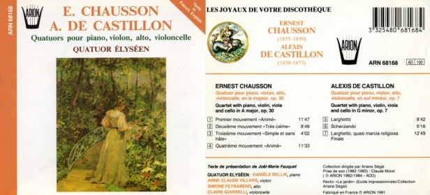 ARN68168-Chausson-Castillon-Quatuor Elyseen