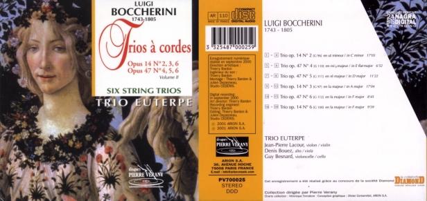 """Luigi Boccherini """"Trios à cordes"""" avec le Trio Euterpe dirigé par Denis Bouez"""