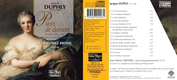 """Jacques Duphly """"Pièces pour clavecin - Deuxième Livre (1748)"""" avec Jean-Patrice Brosse, Clavecin Kroll 1774"""