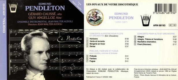 """Edmund Pendleton"" par Gérard Caussé, alto - Guy Angelloz, flûte et l'Ensemble Instrumental Jean-Walter Audoli"