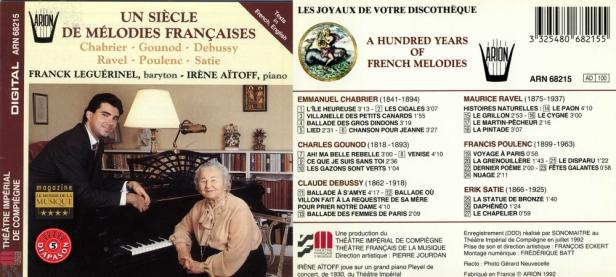 """""""Un Siècle de Mélodies Françaises""""avec Franck Leguérinel, baryton et Irène Aïtoff au piano"""