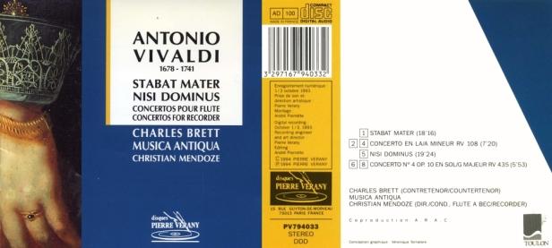 "Antonio Vivaldi ""Stabat Mater - Nisi Dominus - Concertos pour flûte"" avec Charles Brett, contre-ténor et Musica Antiqua dirigé par Christian Mendoze"