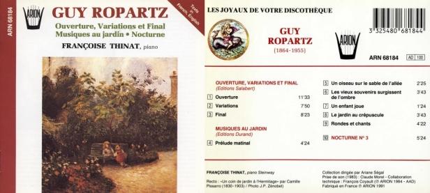 """Guy Ropartz """"Ouverture, Variations et Final - Musiques au jardin - Nocturne"""" par Françoise Thinat au piano Steinway"""