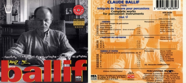 """Claude Ballif """"Intégrale de l'Œuvre pour percussions vol.1"""" avec l'Ensemble Rhizome dirigé par Alexandre Damnjanovic"""