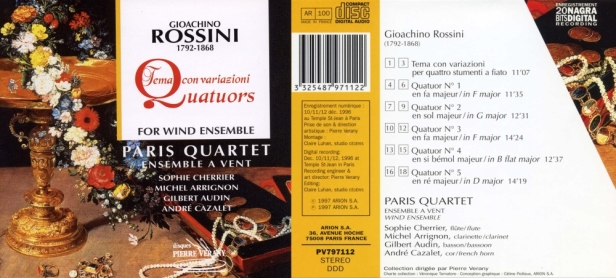"Gioacchino Rossini ""Quatuors pour ensemble à vents"" avec le Paris Quartet, Ensemble à vent"