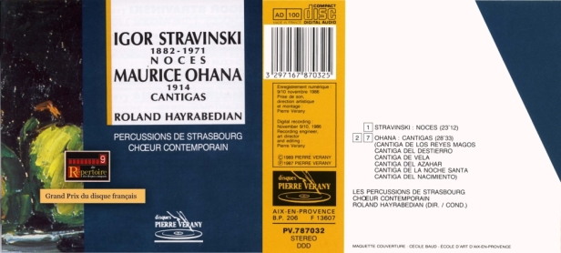 """"""" Stravinski / Ohana - Noces / Cantigas"""" par les Percussions de Strasbourg et le Choeur Contemporain dirigés par Roland Hayrabedian"""