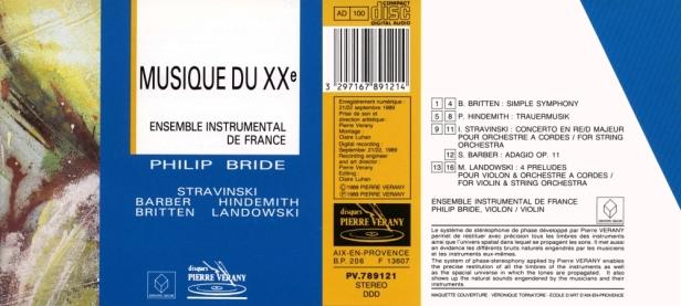 """""""Musique du XXème Siècle"""" par l'Ensemble Instrumental de Francedirigé par Philip Bride au 1er violon"""