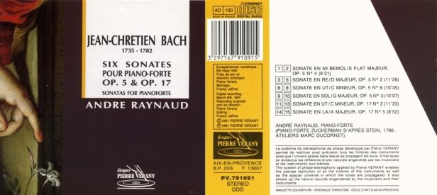 """Jean-Chrétien Bach """"6 Sonates pour piano-forte, Op.5 & 17"""" par André Raynaud"""