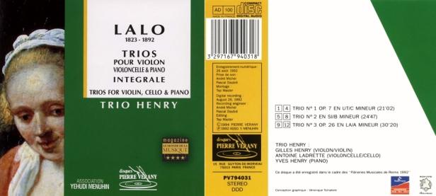 """Edouard Lalo """"Trios pour violon, violoncelle & piano"""" avec Le Trio Henry - Gilles Henry,Antoine Ladrette et Yves Henry"""