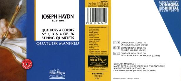 """Joseph Haydn """"Quatuors à cordes N°1, 3 & 4 Op.76"""" par le Quatuor Manfred dirigé par Marie Bereau au violon"""