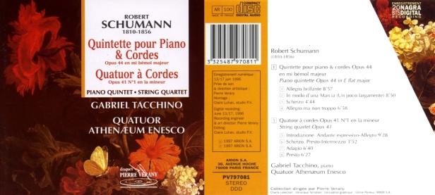 """Robert Schumann """"Quintette & quatuor à cordes"""" avec le Quatuor Athenaeum Enesco et Gabriel Tacchino au piano"""