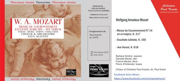 """Wolfgang Amadeus Mozart """"Messe du Couronnement K. 317"""" avec l'Orchestre et Chœur Paul Kuentz, Barbara Schlick, Danielle Michel, Francis Bardot et Pierre d'Hollander"""